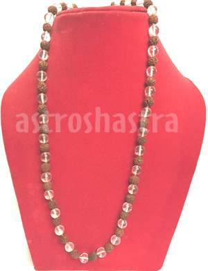 crystal and rudraksh mala